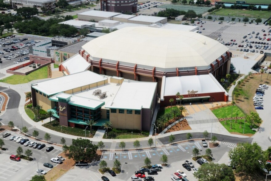 Aerial view of the Yuengling Center at USF Tampa