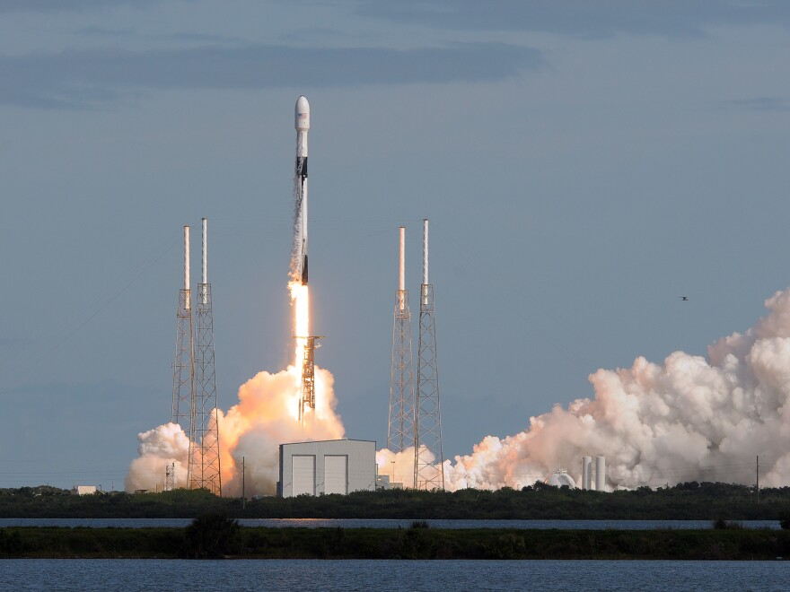A SpaceX Falcon 9 rocket lifts off Monday from Florida's Cape Canaveral Air Force Station carrying 60 Starlink satellites. The Starlink constellation eventually will consist of thousands of satellites designed to provide worldwide high-speed Internet service.