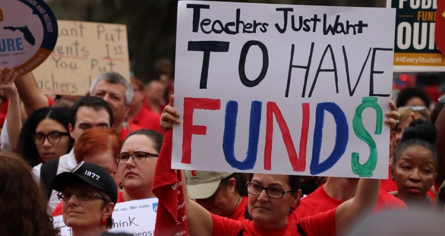 Thousands of Florida teachers rally in Tallahassee for more education funding and higher pay for other school workers. (1/13/2020).