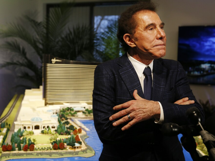 Steve Wynn speaks to reporters in Massachusetts in 2016, when he still led Wynn Resorts. In 2018, Wynn stepped down from the company after a series of allegations of sexual misconduct, including one allegation of rape. Wynn has denied any wrongdoing.