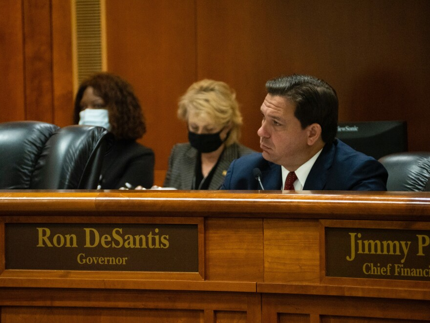 Florida Gov. Ron DeSantis, seen here during a September Clemency Board hearing, discovered the change when he tried voting Monday in Leon County.
