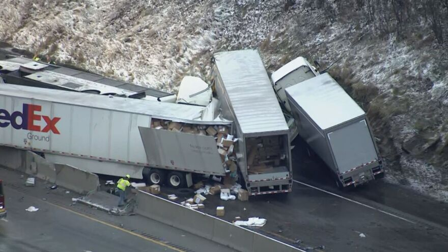 A multivehicle crash along the Pennsylvania Turnpike killed five people and at least 60 more are injured on Sunday. A tour bus traveling to Cincinnati rolled over and was then hit by two tractor-trailers, according to Stephen Limani, a public relations officer for the Pennsylvania State Police.