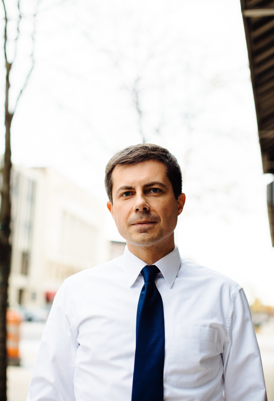 Mayor Pete Buttigieg at Pegg's Diner in South Bend, Ind.