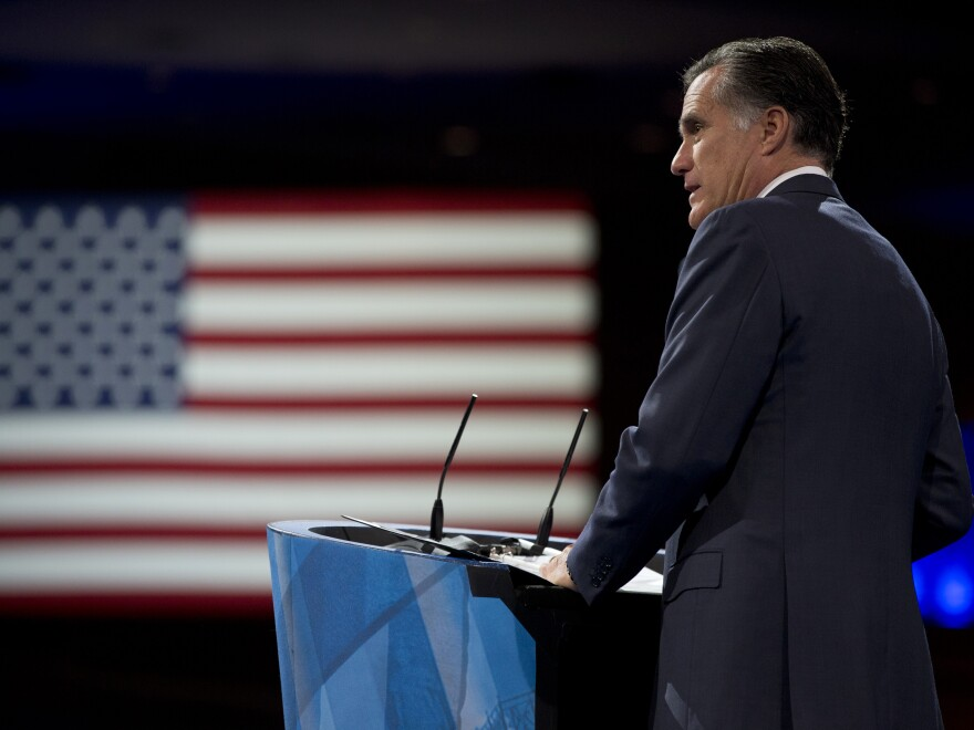 Former Massachusetts governor and 2012 Republican presidential candidate Mitt Romney speaks at the 40th annual Conservative Political Action Conference in National Harbor, Md., in March.