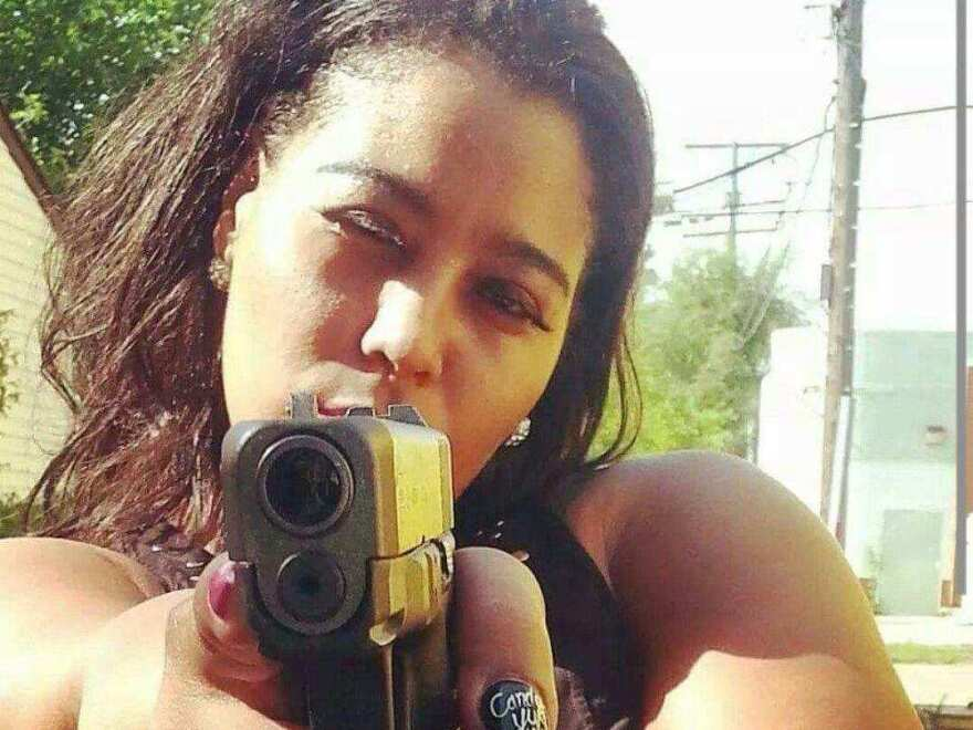 Alaina Gonville works as a bouncer in Detroit. Gonville was shot after being approached by robbers outside a grocery store.
