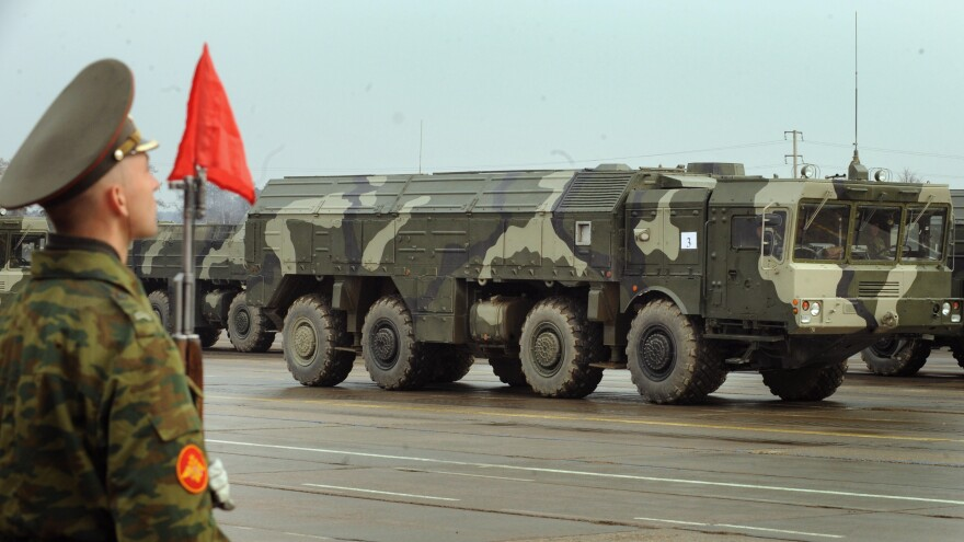 A picture taken on April 20, 2010, shows a Russian nuclear-capable Iskander ballistic missile launcher during a military parade rehearsal outside Moscow. Russia transferred Iskander-M missile launchers within range of three Baltic states earlier this month.