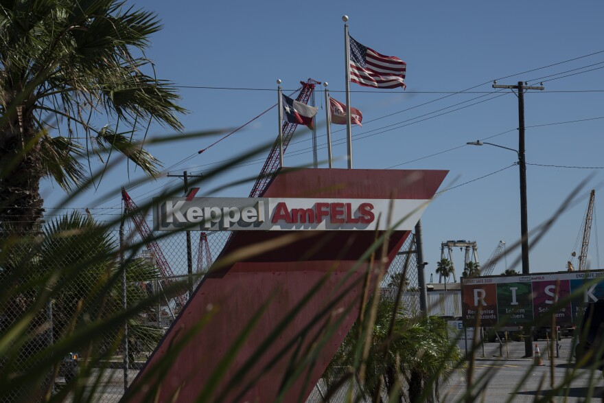 Keppel AmFELS entrance as seen on April 30, 2020 in Brownsville. Employees say the company hasn't taken proper precautions to protect them against COVID-19.