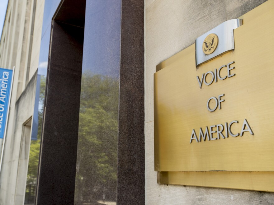 "The Voice of America building, shown Monday, in Washington, D.C. VOA has increasingly <a href=""https://www.npr.org/2020/04/10/831988148/white-house-attacks-voice-of-america-over-china-coronavirus-coverage"" data-key=""9066"">been a target</a> of the Trump administration."