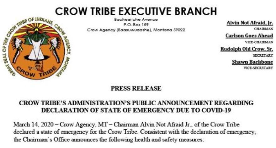 A press release from the Crow Tribe Executive Branch announcing an emergency declaration due to the coronavirus pandemic.