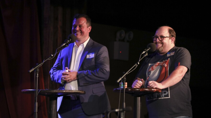 Contestants Lowell Williams and Zach Elwyn appear on<em> Ask Me Another</em> at the Bell House in Brooklyn, New York.