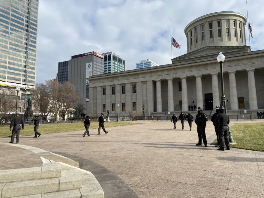 Ohio State Highway Patrol ramps up security at the Ohio Statehouse Jan. 20