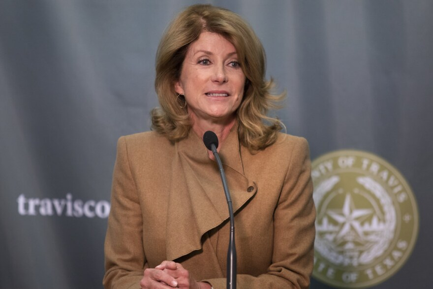 Former state Sen. Wendy Davis speaks at a Travis County press conference on Jan. 29.