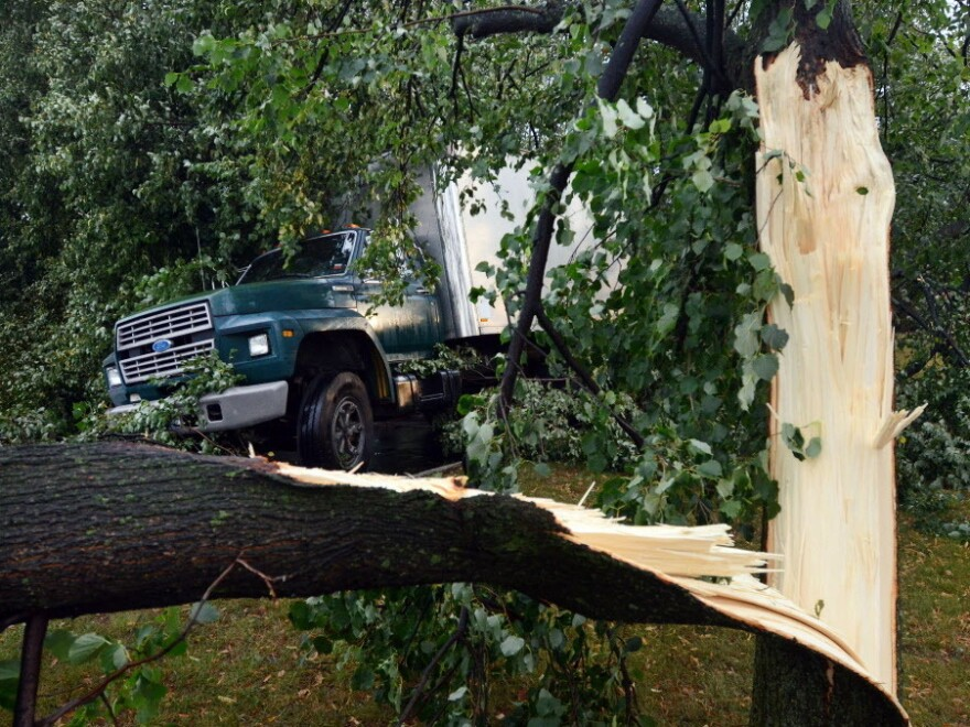 Broken trees lying across a truck in Elmira, N.Y., after Thursday's storm.