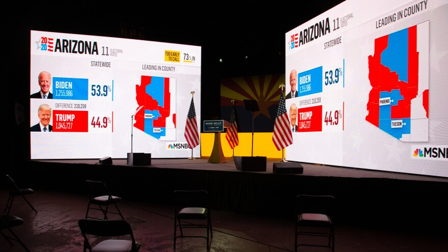 Arizona presidential election results from MSNBC are shown during Democratic Senate candidate Mark Kelly's election night event in Tucson, Ariz. Like many other news organizations, NBC held off on calling Arizona for Joe Biden, while the AP called it in the early hours of Nov. 4.