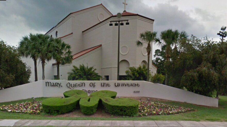 A map image shows the exterior of the Basilica of the National Shrine of Mary, Queen of the Universe, a church that serves tourists visiting Walt Disney World in Florida.