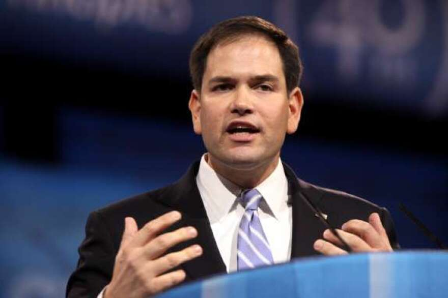 Marco Rubio speaking at the Conservative Political Action Conference in Maryland, 2013.