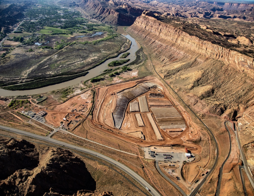 Visible along a main highway into town, the Moab Pile greets visitors to the tourist-dependent community.