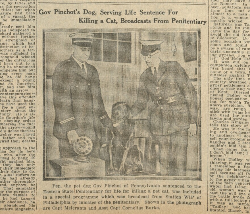 Pep is featured in the Dec. 26, 1925 issue of the <em>Boston Daily Globe.</em><em> </em>But Gov. Pinchot's wife, Cornelia, later set the tall tale straight in an interview with <em>The New York Times</em>.