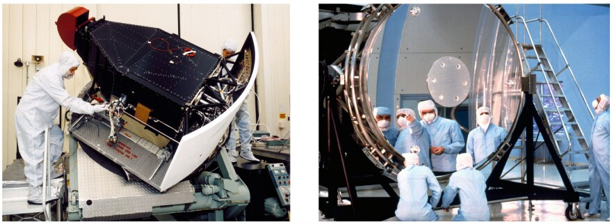 (Left) This is one of two cameras that the telescope originally carried, and it has since been replaced with a more up-to-date version. (Right) Workers study Hubble's 8-foot main mirror. After launch the mirror was found to have a problem, which astronauts corrected in 1993.