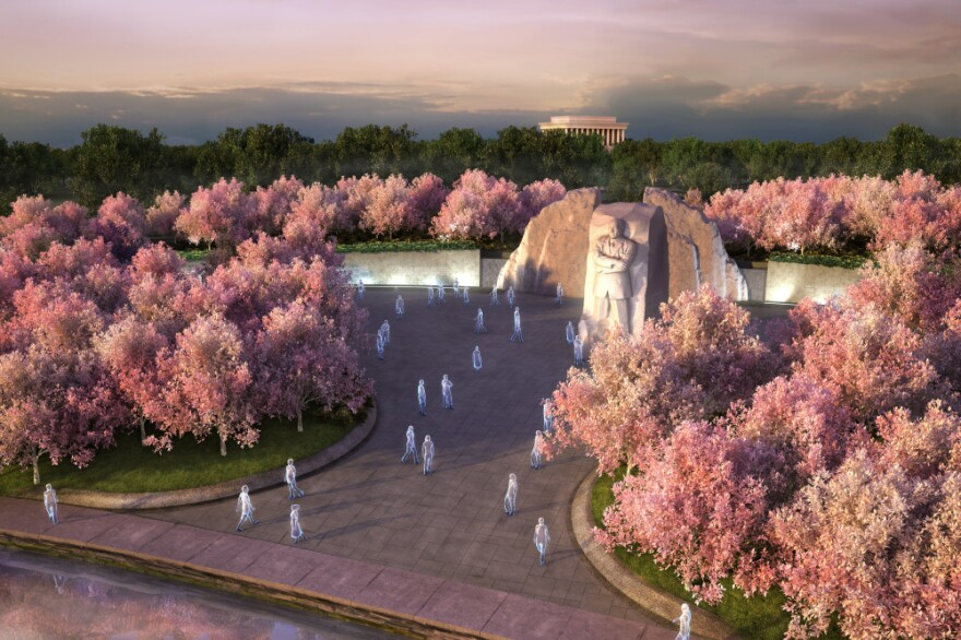 An artist's rendering  of the Martin Luther King, Jr. Memorial on Washington, D.C.'s Tidal Basin. The Lincoln Memorial, where King gave his <em>I Have A Dream</em> speech in 1963, is in the background.<strong></strong>