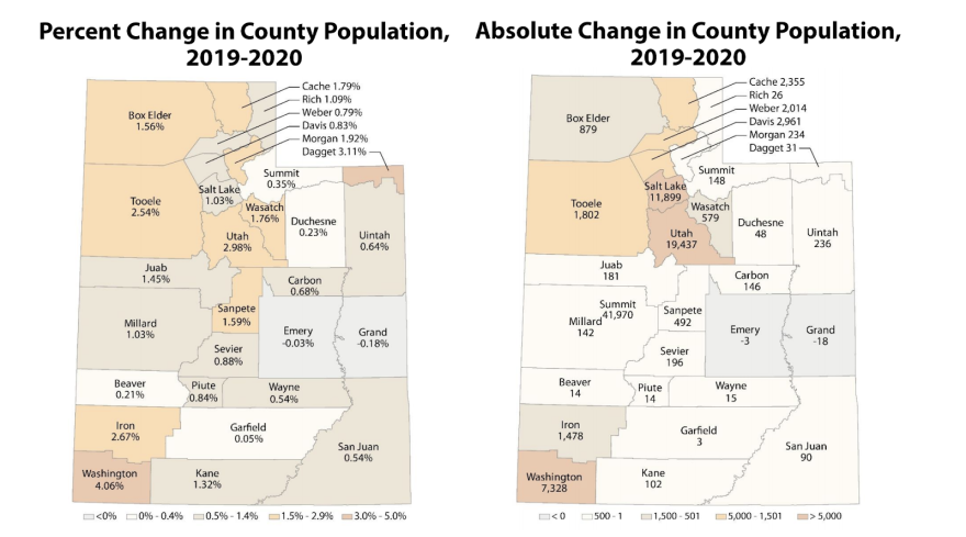 A screenshot of two maps side by side that capture the percent change of population in Washington County.