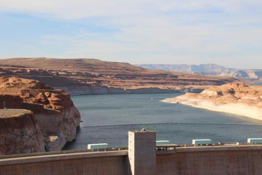 Lake Powell is impounded by Glen Canyon Dam in northern Arizona. Flows into the reservoir in 2018 were among the lowest on record.