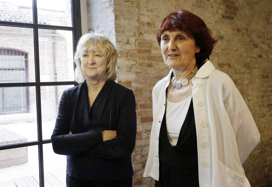 Yvonne Farrell, left, and Shelley McNamara are the 2020 winners of the Pritzker Architecture Prize. They are pictured above in Venice, Italy, in May 2018.