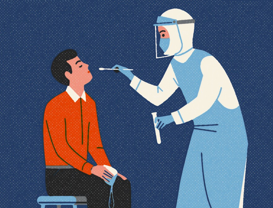 A graphic of a patient getting tested for the coronavirus.