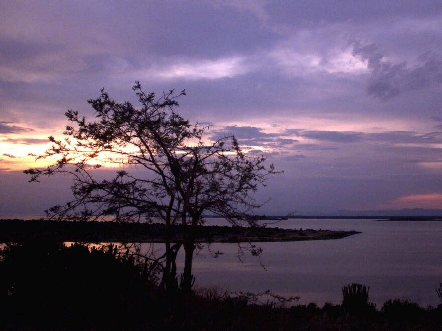 The sun sets over Lake George near Uganda's Queen Elizabeth National Park in western Uganda, in this 2000 photo.