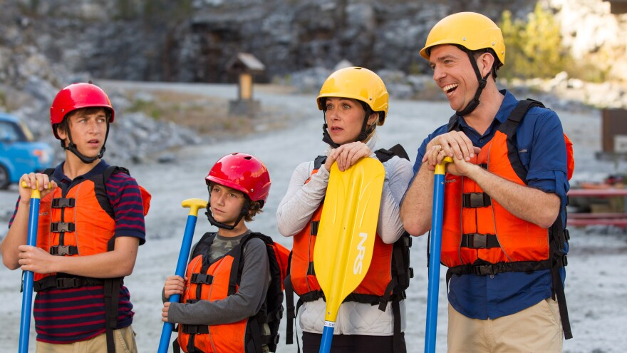 Skyler Gisondo (from left), Steele Stebbins, Christina Applegate and Ed Helms are the new Griswold family — en route to Walley World — in the 2015 follow-up to the 1983 movie <em>Vacation.</em>