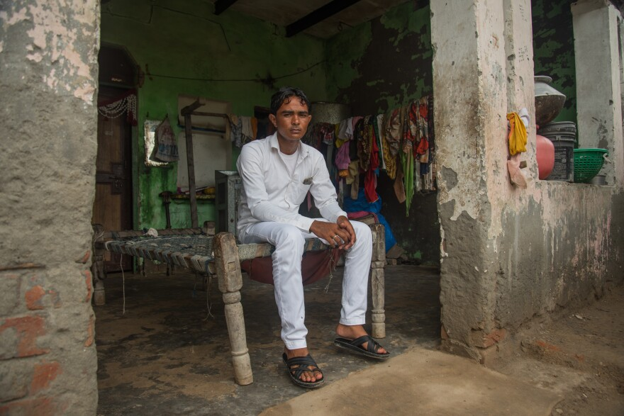 """Mohamed Irshad, 27, was with his brother and his father, Pehlu Khan, when they were attacked by a Hindu mob in 2017. """"My brother and I barely survived — and all of India saw what happened to our father,"""" he says. The attackers posted a video of their assault on social media in which Khan, his white tunic splattered with blood, pleads for his life, calling his attackers """"brother."""""""