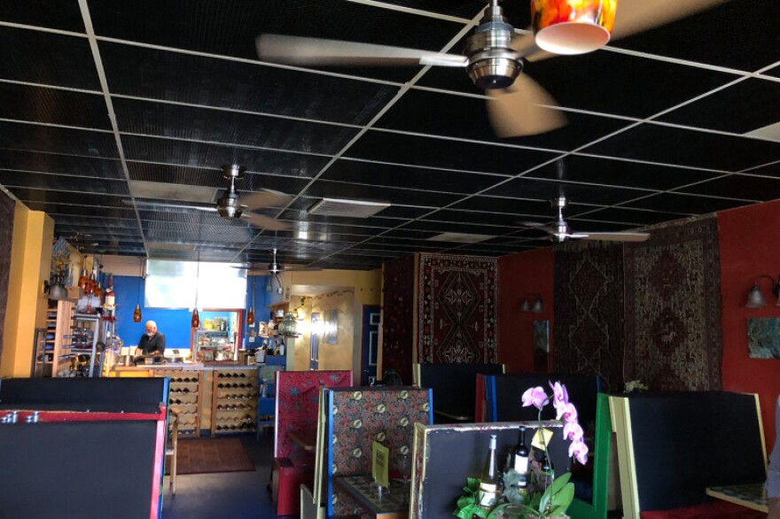 Inside Marlaina's Mediterranean Kitchen, a Seattle-area eatery, which is battling the coronavirus using UV light.