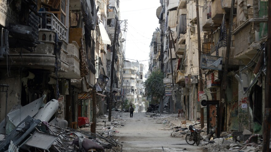 An almost deserted, rubble-filled street in Aleppo, Syria (Oct. 9, 2012).
