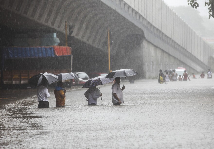A flooded street during heavy rain in Mumbai, India, on Tuesday.