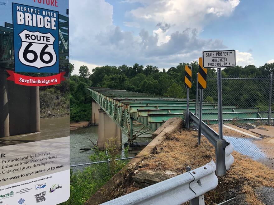 The Meramec River Bridge, built to carry Route 66 across the river, closed about a decade ago. Aug 2019