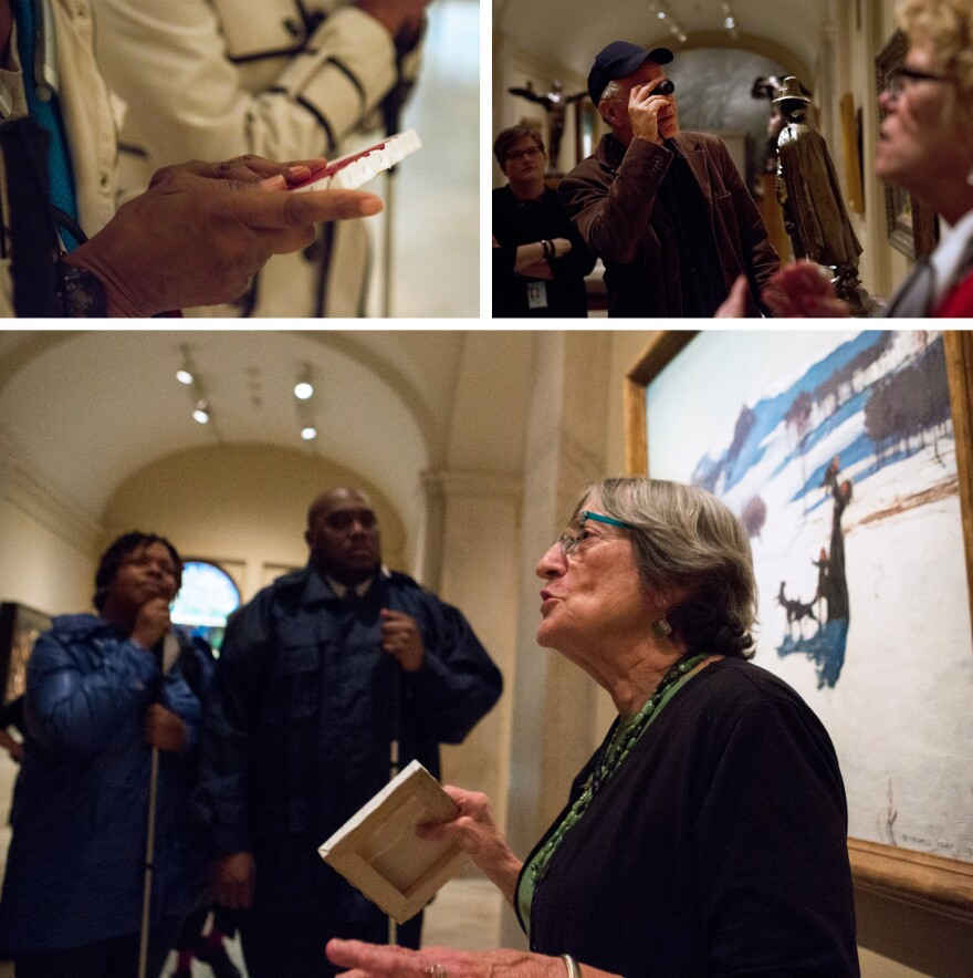 (Top left) A visitor holds a sample painted canvas during an America InSight tour. (Top right) Visitor Kilof Legge uses a monocular to see details on a statue. (Bottom) Docent Phoebe Kline describes a painting for the visitors on her tour.