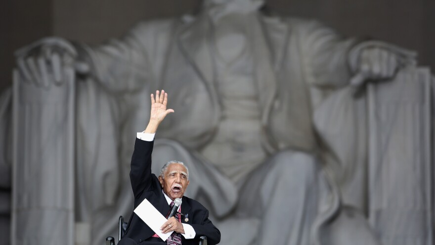 "The Rev. Joseph Lowery speaks at the Lincoln Memorial in Washington, D.C., during an event commemorating the 50th anniversary of Dr. Martin Luther King Jr.'s ""I Have a Dream"" speech and the March on Washington for Jobs and Freedom."