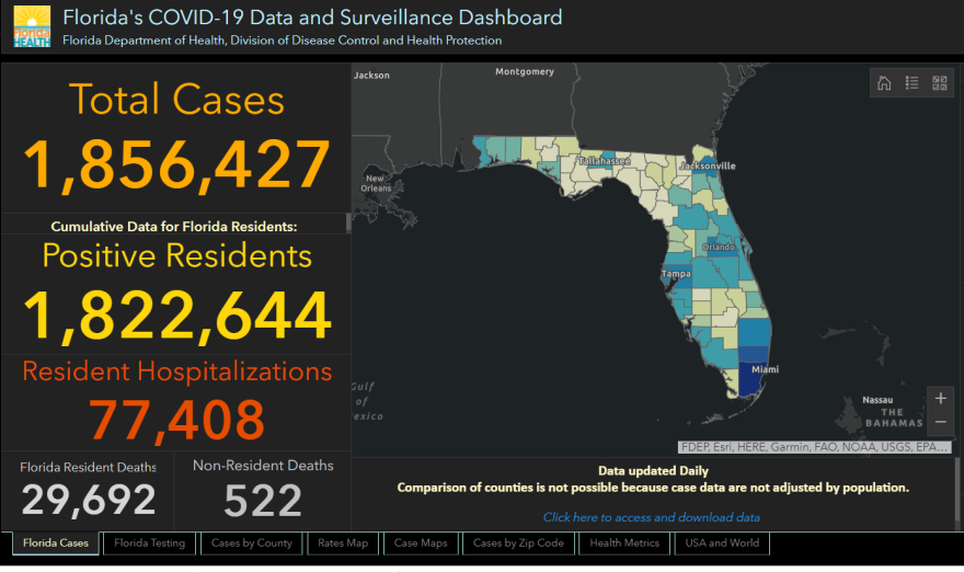Florida Dept. of Health COVID-19 screenshot