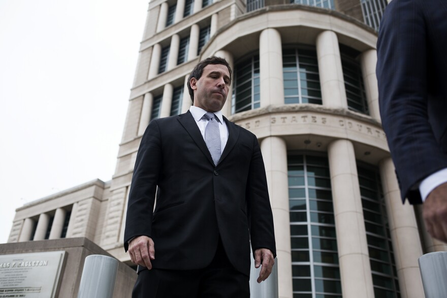 Former St. Louis County Executive Steve Stenger walks out of federal court after pleading guilty to federal charges of bribery, mail fraud and theft of honest services.