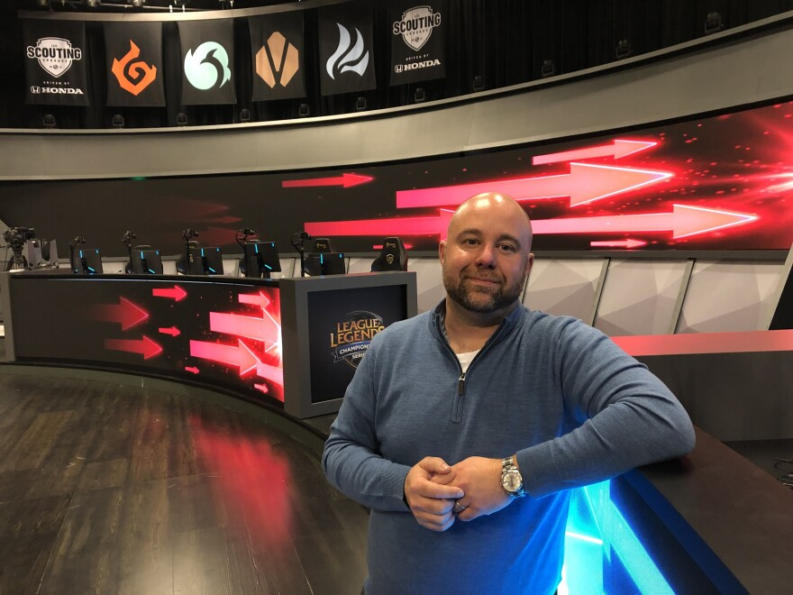 Esports Commissioner Chris Greeley in the League of Legends Battle Arena, in Los Angeles. This is where the regular season games take place. It seats about 375 people. Greeley has been Commissioner of the League Championship Series (LCS) for the past two years.  The LCS is the North American Esports league overseeing 10 teams that play the most popular Esport videogame, League of Legends.