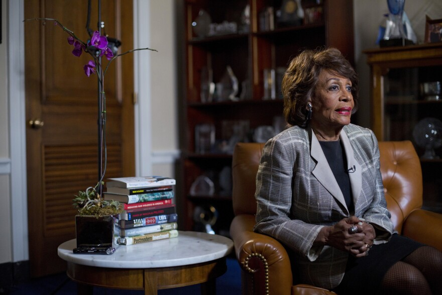 Rep. Maxine Waters, D-Calif. speaks during an interview with the Associated Press at her congressional office on Capitol Hill in Washington. (Pablo Martinez Monsivais/AP)
