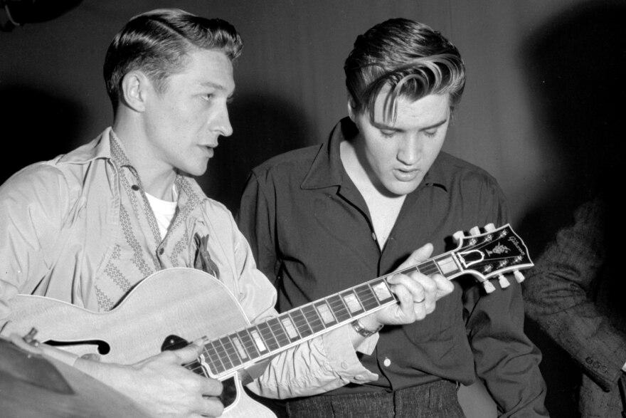 Scotty Moore (left), with Elvis Presley.