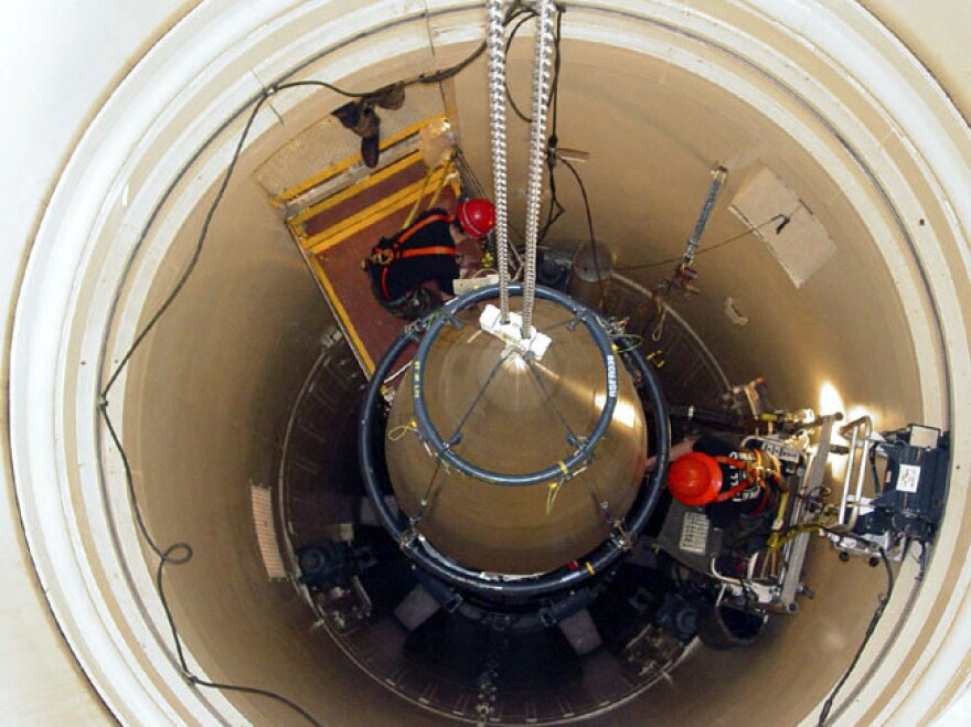 An intercontinental ballistic missile in its silo at Malmstrom Air Force Base in Montana.