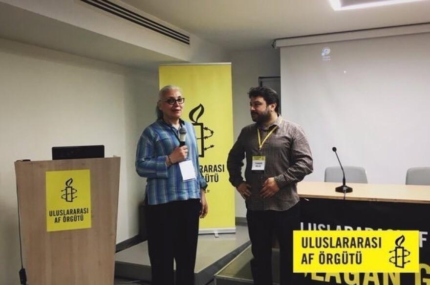 Amnesty International's Turkey director Idil Eser (left) was detained on Wednesday, and its Turkey chair Taner Kiliç was taken into custody last month.