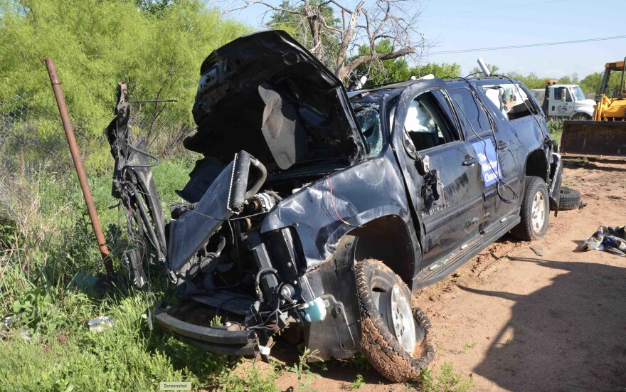 The car of storm chasers, Kelley Williamson and Randall Yarnall, was destroyed during the March 2017 tornado near Spur, Texas, leaving both men along with storm spotter, Corbin Lee Jaeger dead.