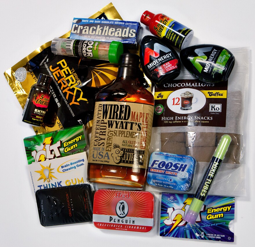 The contents of a box of some of the new foods containing caffeine collected by the Center for Science in the Public Interest.