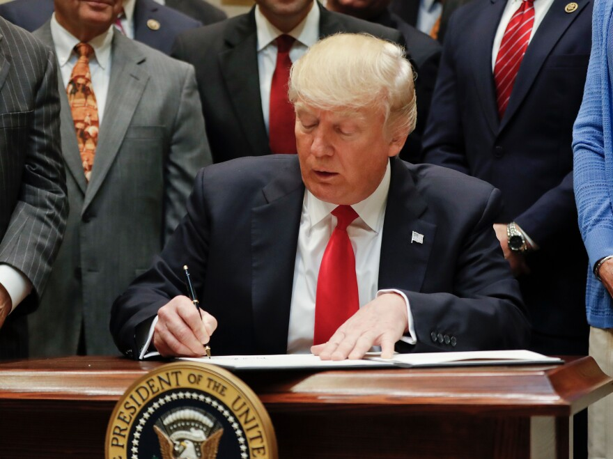 President Trump signs an executive order in the Roosevelt Room of the White House on Friday.