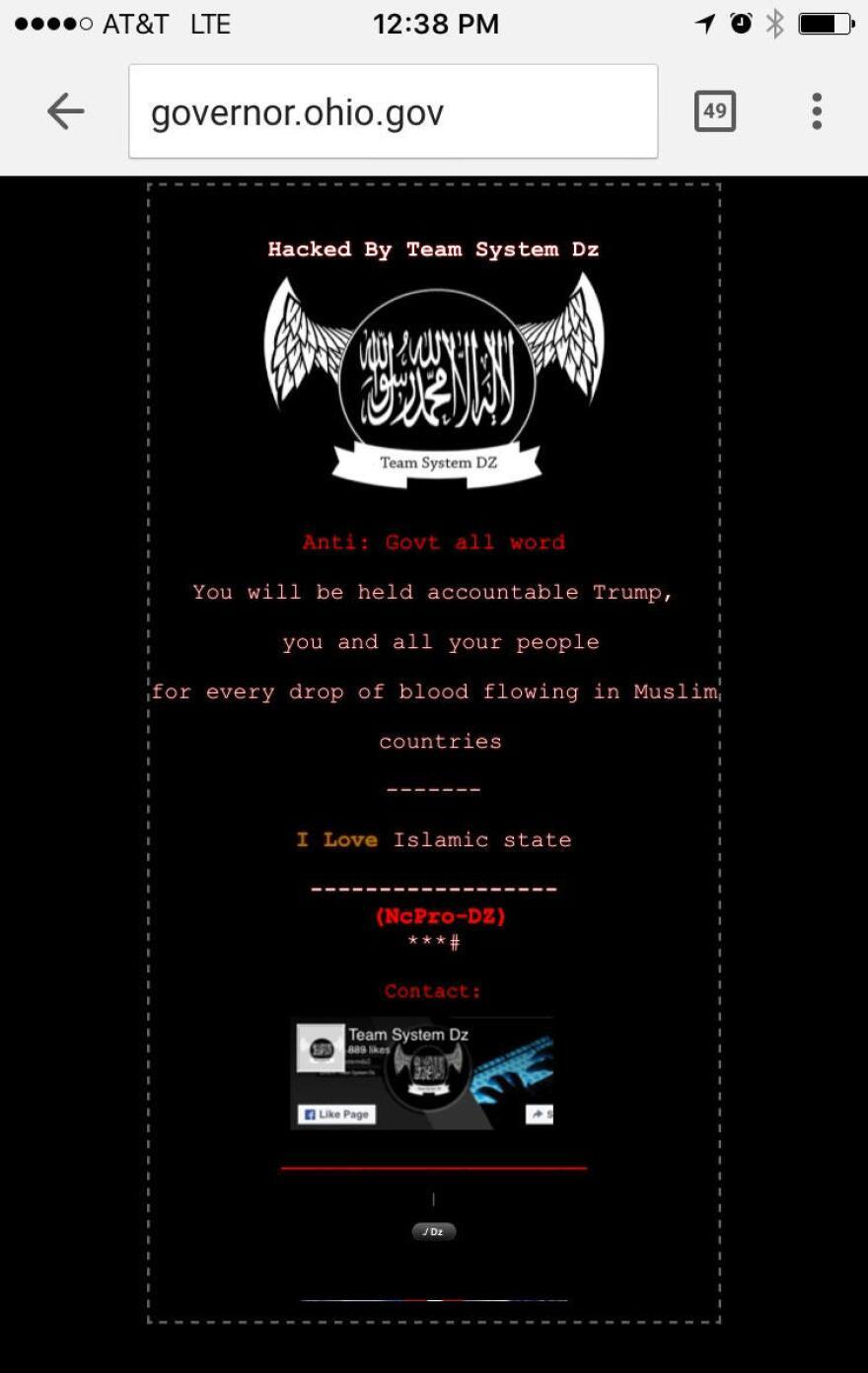 photo of hacked Ohio website