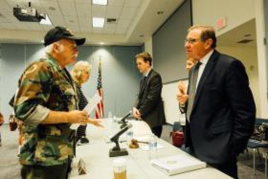 Navy veteran Charles Boyd Hanlon speaks to Rep. Neal Dunn (R-FL), the chairman of the House VA Subcommittee on Health.