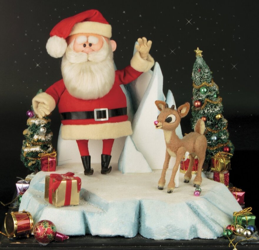 """Santa Claus and Rudolph the Red Nosed Reindeer figurines from the 1964 Christmas special """"Rudolph the Red Nosed Reindeer."""""""